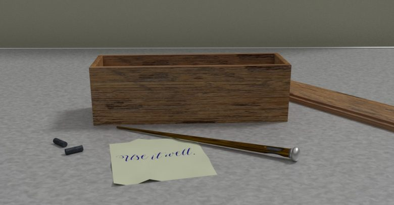 A wooden box and wand